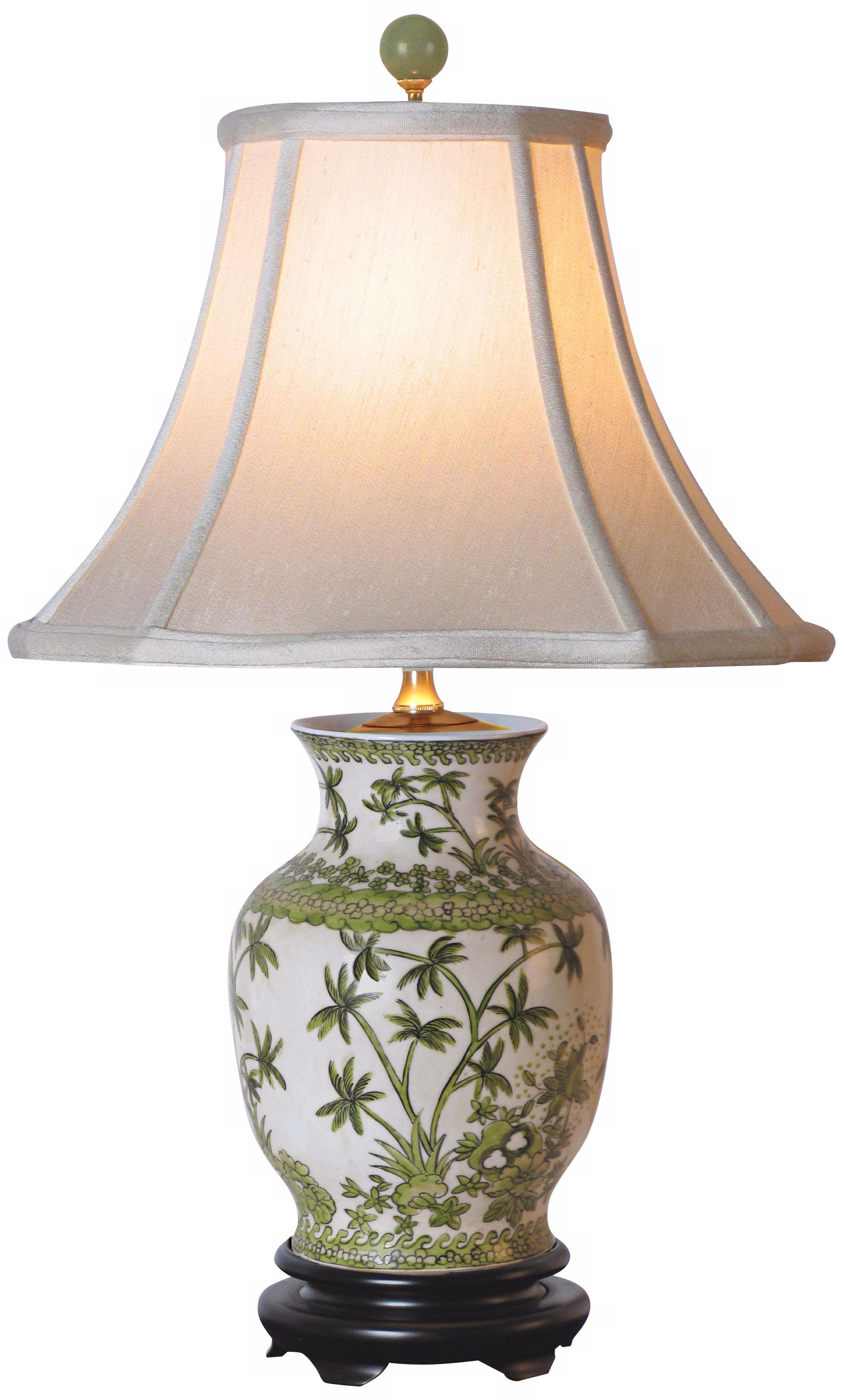 Superb Palm Tree Porcelain Vase Table Lamp