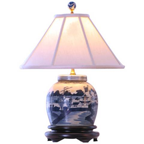 Canton Blue And White 20 High Porcelain Jar Table Lamp