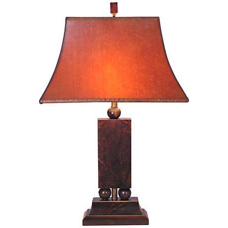 Hand-Cut Jade Post Table Lamp