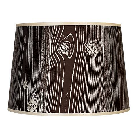 Lights Up Faux Bois Dark Lamp Shade 12x14x10 Spider