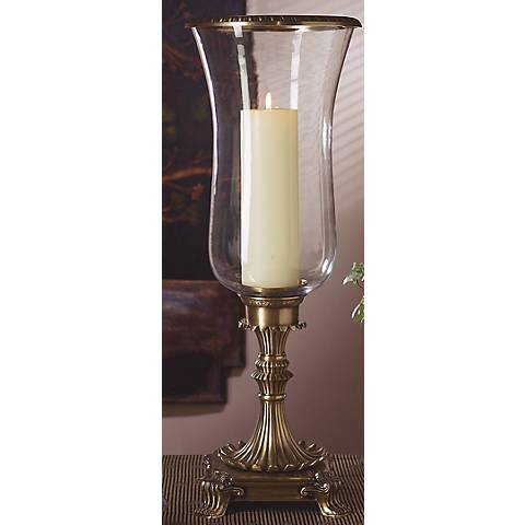 Ladley Antique Brass Hurricane Pillar Candle Holder