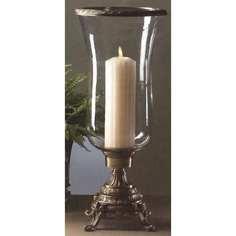 Mowry Antique Brass Hurricane Pillar Candle Holder
