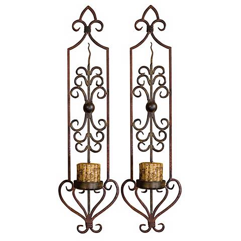 Hand Forged Set of Two Candle Wall Sconces
