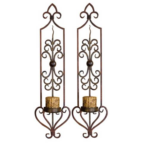 Hand Forged Set of Two Candle Wall Sconces - #G7396 Lamps Plus
