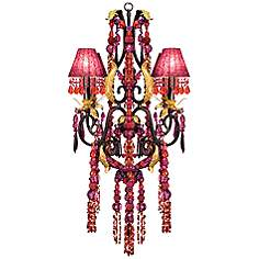 Purple chandeliers lamps plus red and purple crystal glass 27w 4 light chandelier mozeypictures Image collections