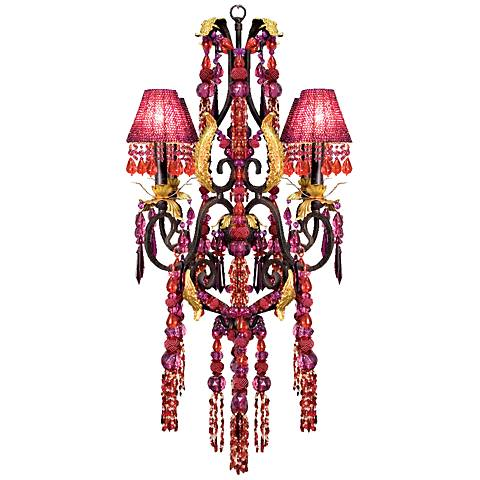 "Red and Purple Crystal Glass 27""W 4-Light Chandelier"