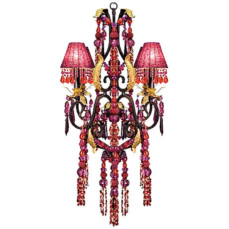 """Red and Purple Crystal Glass 27""""W 4-Light Chandelier"""