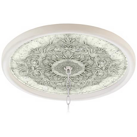 """Antiquity Stone 16"""" Wide White 1"""" Opening Medallion"""