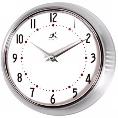 Retro Round Silver Finish Metal Wall Clock - #G8750 Lamps Plus