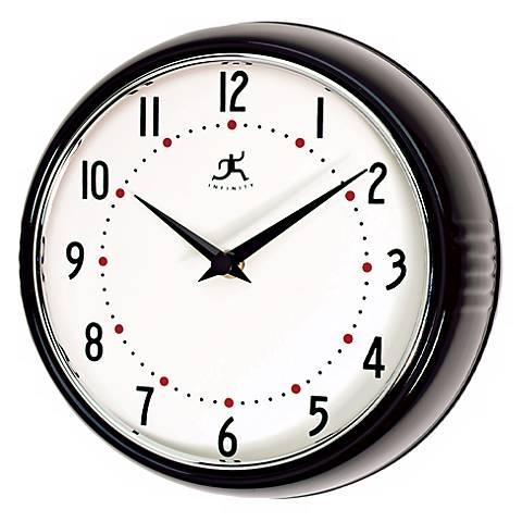 black retro round metal 9 1 2 wide wall clock g8751