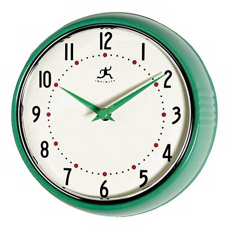 "Green Retro Round Metal 9 1/2"" Wide Wall Clock"