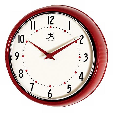 """Red Retro Round Metal 9 1/2"""" Wide Wall Clock"""