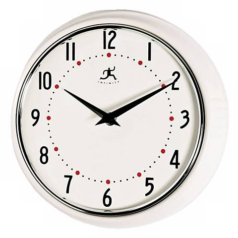 White Retro Round Metal Wall Clock