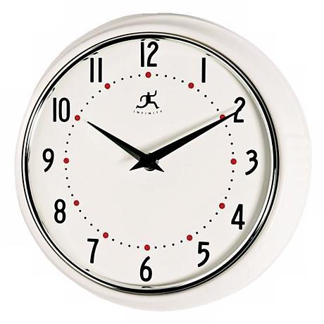 White Retro Round Metal Wall Clock