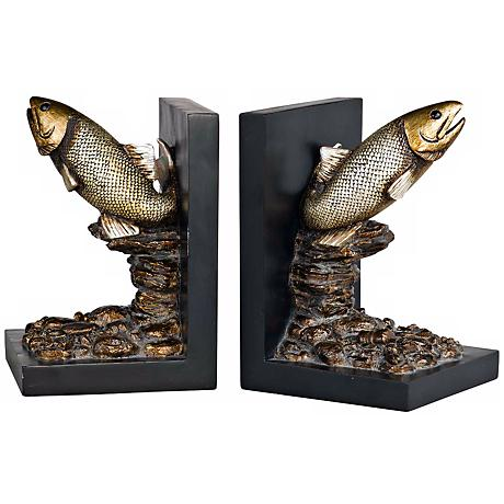 Aged Bronze Trout Bookends