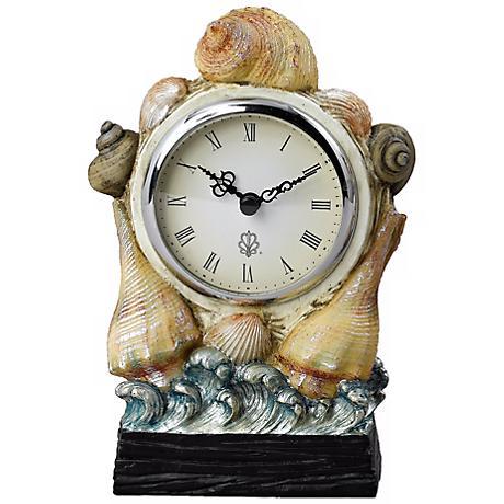"Sea Shell Carapace 7 1/2"" High Clock"
