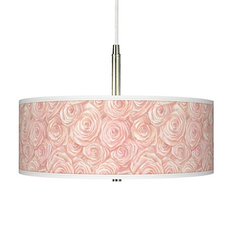 Pink Roses Giclee Pendant Chandelier