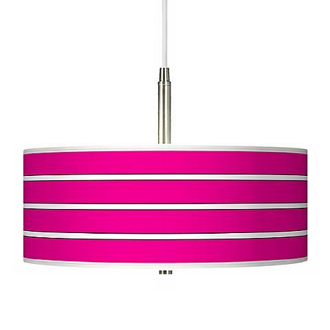 Bold Pink Stripe Giclee Pendant Chandelier