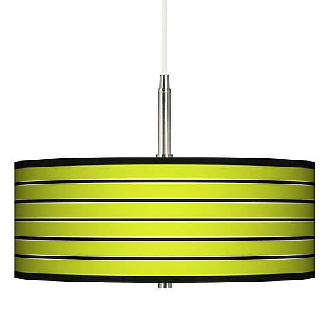 Bold Lime Green Stripe Giclee Pendant Chandelier