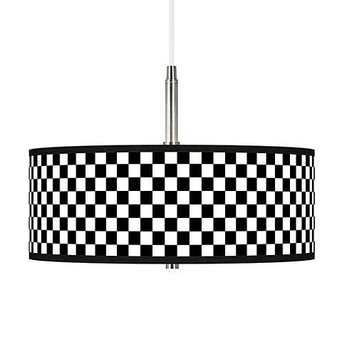 Checkered Black Giclee Pendant Chandelier