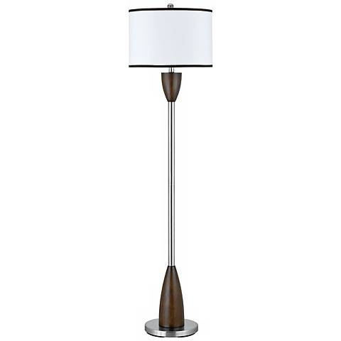 Brushed Steel and Faux Wood Floor Lamp