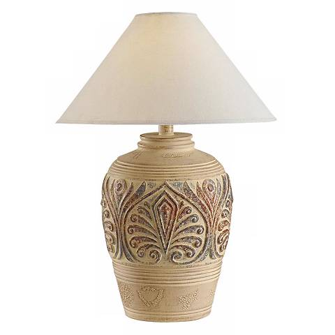 Southwest Tan Leaf Design Table Lamp
