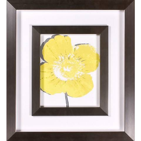 "Yellow Blooms I Print Under Glass 21"" High Wall Art"