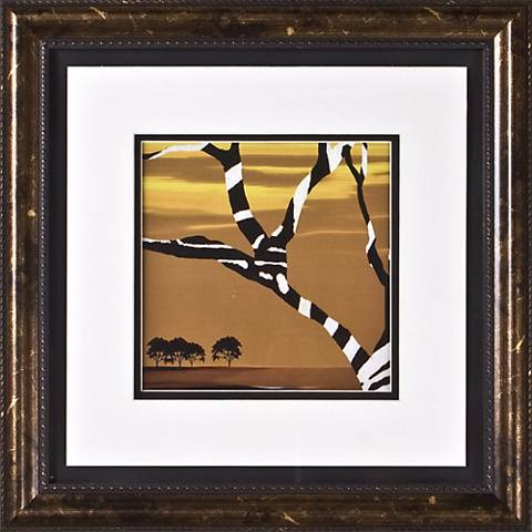 "African Tree I Print Under Glass 17"" Square Wall Art"