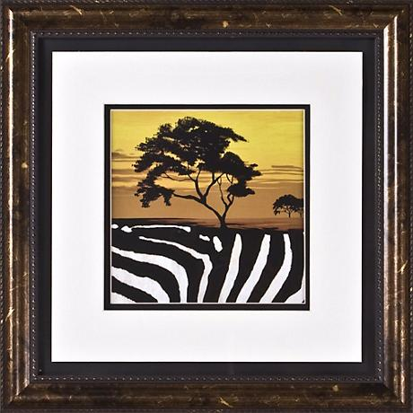"""African Tree II Print Under Glass 17"""" Square Wall Art"""