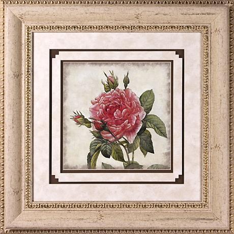 "Close Up Rose I Print Under Glass 22"" Square Wall Art"