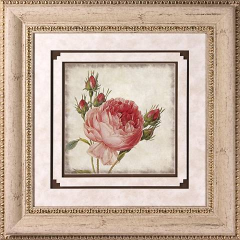 """Close Up Rose II Print Under Glass 22"""" Square Wall Art"""