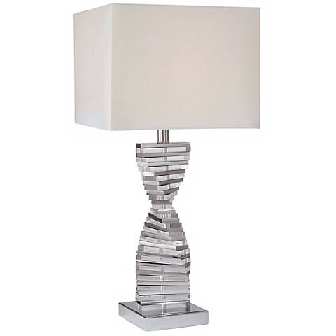George Kovacs Eidolon Glass White Fabric Shade Table Lamp