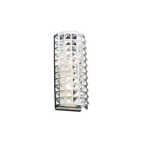 """Deco Crystal and Chrome 14"""" High ADA Wall Sconce"""