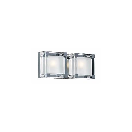 """Nice Cube Frosted Glass 12"""" Wide ADA Bathroom Light"""