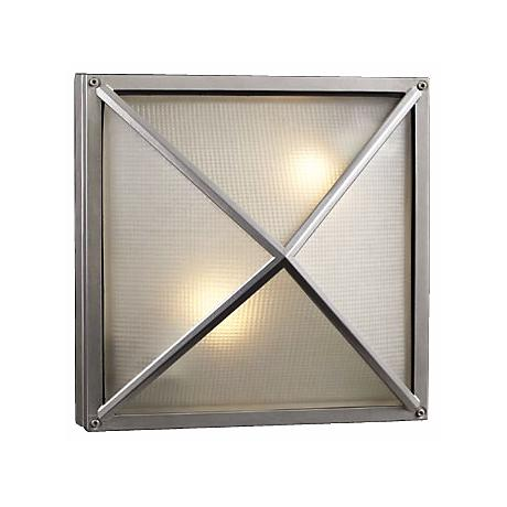 """Deco Square Silver 12 1/2"""" Wide Outdoor Wall Light"""