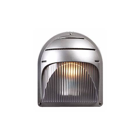 """Silver Finish Ribbed Acrylic 8"""" High Outdoor Wall Light"""
