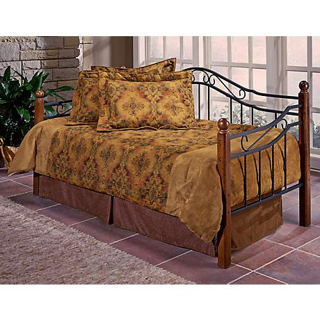 Wood Post and Black Grill Metal Daybed