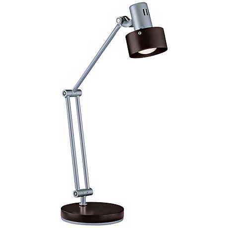 Lite Source Silver Walnut Adjustable Desk Lamp