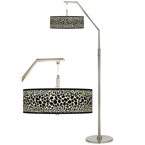 Leopard Giclee Shade Arc Floor Lamp