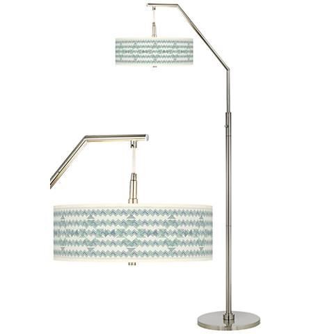 Triangular Stitch Giclee Shade Arc Floor Lamp