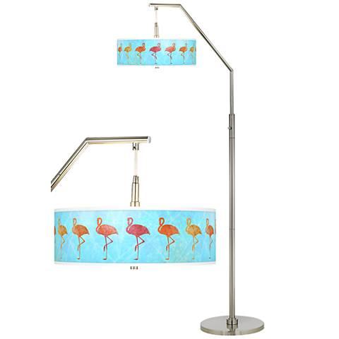 Flamingo Shade Giclee Shade Arc Floor Lamp