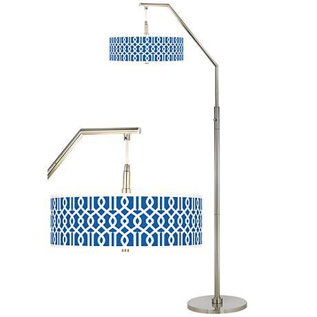 Chain Reaction Giclee Shade Arc Floor Lamp