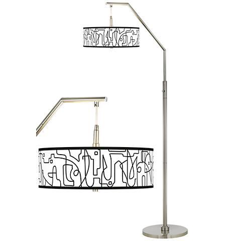 Scribble World Giclee Shade Arc Floor Lamp