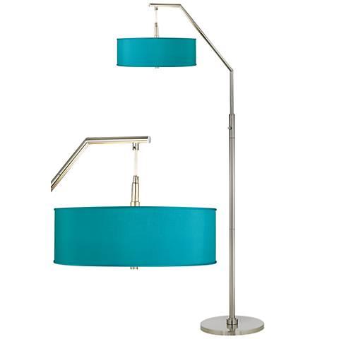 Teal Blue Faux Silk Shade Arc Floor Lamp