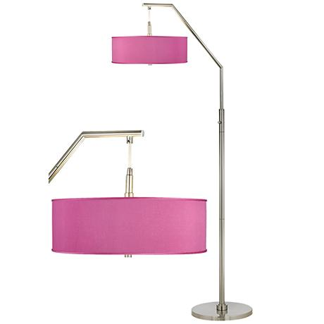 Pink Orchid Faux Silk Shade Arc Floor Lamp