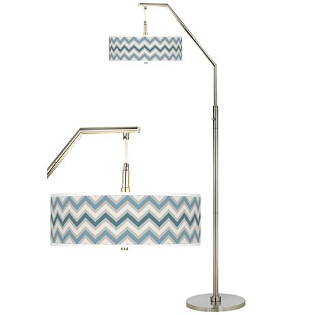 Wave Zig Zag Giclee Shade Arc Floor Lamp