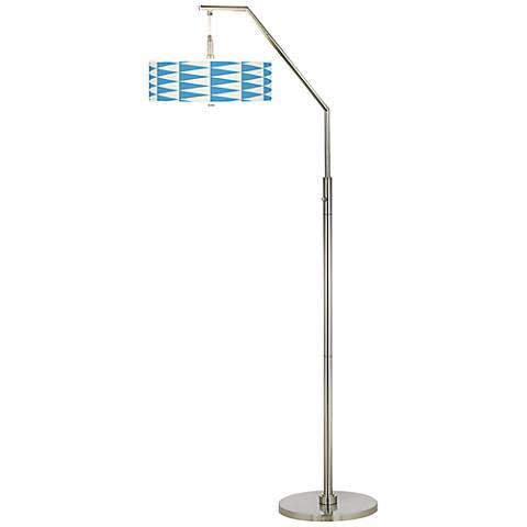 Coastal Pennant Giclee Shade Arc Floor Lamp