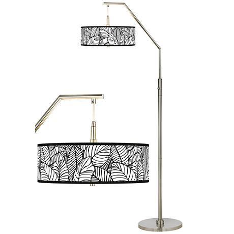 Tropical Leaves Giclee Shade Arc Floor Lamp