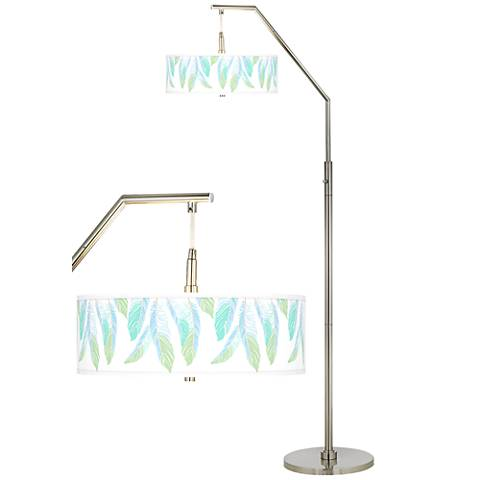 Light as a Feather Giclee Shade Arc Floor Lamp