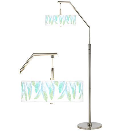 Light as a Feather Giclee Shade Arc Floor Lamp